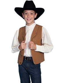 Scully Notched Lapel Canvas Vest - Brown - Boys' Old West Vests and Jackets | Spur Western Wear