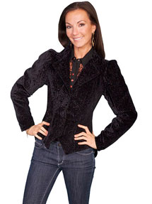 Wah Maker Burn Out Floral Velvet Jacket - Black - Ladies' Old West Vests And Jackets | Spur Western Wear