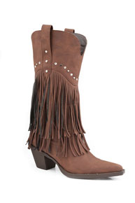 "Roper Brown Fringe With Stud Design 12"" Cowgirl Boots"