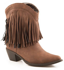 "Roper Brown Fringe Shorty 8"" Cowgirl Boots"