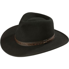 Scala Crushable Wool Outback Hat - Black - Cowboy Hats | Spur Western Wear