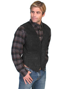 Scully Boar Suede Satin Back Vest – Black - Men's Leather Western Vests and Jackets | Spur Western Wear