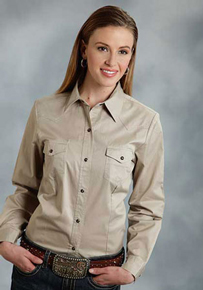 Roper Poplin Long Sleeve Snap Front Western Shirt - Tan - Ladies' Western Shirts | Spur Western Wear