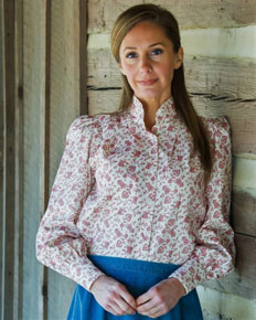 Frontier Classics Blouse - Red & White Print - Ladies' Old West Blouses | Spur Western Wear