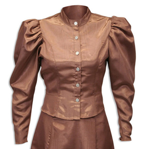 Wah Maker Chocolate  Moire Princess Tie Back Blouse