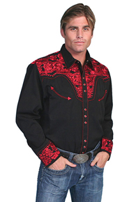 Scully Gunfighter Long Sleeve Snap Front Western Shirt - Black with Crimson Roses - Men's Retro Western Shirts | Spur Western Wear