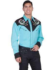 Scully Floral Justice Long Sleeve Snap Front Western Shirt - Turquoise - Men's Retro Western Shirts | Spur Western Wear