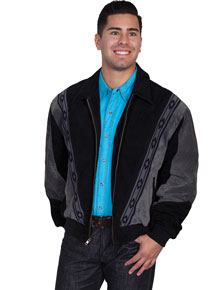 Scully Suede Leather Rodeo Jacket – Black with Dark Grey - Men's Leather Western Vests and Jackets | Spur Western Wear