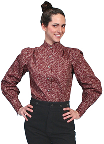 Scully Burgundy Print Victorian Blouse