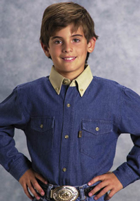Roper Contrast Collar Long Sleeve Western Shirt - Blue - Boys' Western Shirts | Spur Western Wear