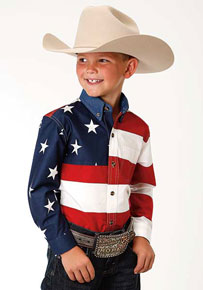 Roper American Flag Long Sleeve Button Front Western Shirt - Boys' Western Shirts | Spur Western Wear