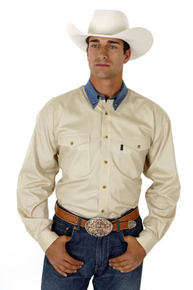 Roper Denim Collar Long Sleeve Western Shirt - Khaki - Men's Western Shirts | Spur Western Wear