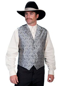 Scully Notched Lapel Paisley Vest - Grey - Men's Old West Vests and Jackets | Spur Western Wear