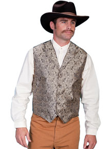 Scully Notched Lapel Paisley Vest - Taupe - Men's Old West Vests and Jackets | Spur Western Wear