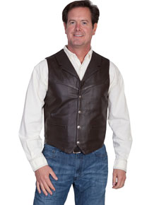 Scully Soft Touch Lambskin Notched Lapel Vest – Brown - Men's Leather Western Vests and Jackets | Spur Western Wear