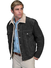 Scully Sherpa Lined Western Leather Jacket - Black - Men's Leather Western Vests and Jackets | Spur Western Wear