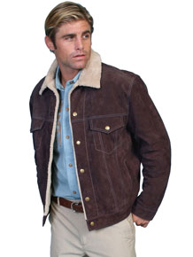 Scully Sherpa Lined Western Leather Jacket – Chocolate - Men's Leather Western Vests and Jackets | Spur Western Wear