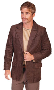 Scully Leather Western Blazer - Dark Brown - Men's Leather Western Vests and Jackets | Spur Western Wear