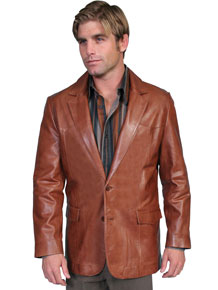 Scully Italian Leather Blazer - Antique Brown - Men's Leather Western Vests and Jackets | Spur Western Wear