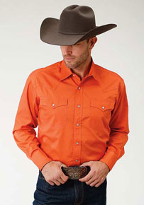 Roper Orange Poplin Long Sleeve Snap Front Western Shirt