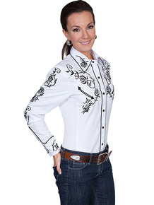 Scully Ponderosa Long Sleeve Snap Front Western Shirt - White with Black Roses - Ladies' Retro Western Shirts | Spur Western Wear