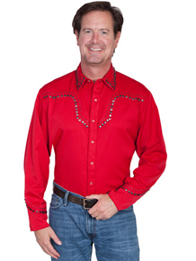 Scully Antique Studded Western Shirt - Red - Big & Tall - Men's Retro Western Shirts | Spur Western Wear