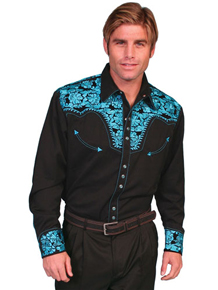 Scully Gunfighter Long Sleeve Snap Front Western Shirt - Black with Turquoise Roses - Men's Retro Western Shirts | Spur Western Wear