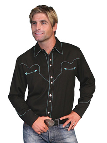 Scully Long Sleeve Snap Front  Western Shirt - Black With Turquoise Stitch Piping - Men's Retro Western Shirts | Spur Western Wear