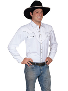 Scully Long Sleeve Snap Front  Western Shirt - White With Black Stitch Piping - Men's Retro Western Shirts | Spur Western Wear