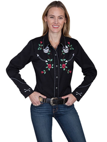 Scully Black With Skulls And Roses Long Sleeve Snap Front Western Shirt – Ladies