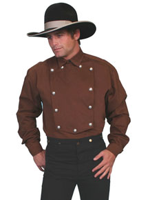 Wah Maker Bib Front Shirt – Silver Tone Button – Brown - Men's Old West Shirts | Spur Western Wear