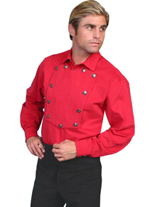 Wah Maker Bib Front Shirt – Silver Tone Button – Red - Men's Old West Shirts | Spur Western Wear