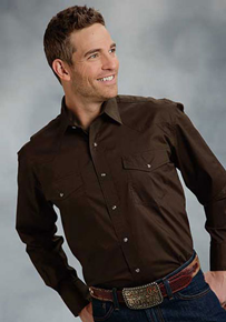 Roper Poplin Long Sleeve Snap Front Western Shirt - Brown - Men's Western Shirts | Spur Western Wear