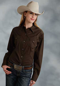Roper Poplin Long Sleeve Snap Front Western Shirt - Brown - Ladies' Western Shirts | Spur Western Wear