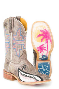 Tin Haul Gnarly Pink Shark Western Boot - Brown - Ladies' Western Boots | Spur Western Wear