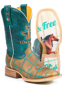 Tin Haul Barb Wire Western Boot - Tan -  Ladies' Western Boots | Spur Western Wear