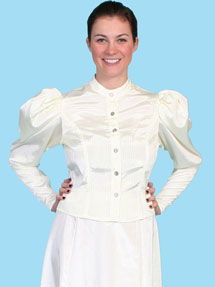 Wah Maker Moire Princess Tie Back Blouse - Ivory - Ladies' Old West Blouses | Spur Western Wear
