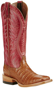 Ariat<sup>®</sup> Vaquera Western Boot - Oiled Tan Caiman Belly/Bright Blush - Ladies' Western Boots | Spur Western Wear