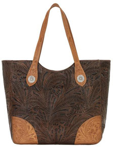American West Annie's Secret Concealed Carry Shoulder Bag - Chestnut & Tan - Ladies' Western Handbags And Wallets | Spur Western Wear