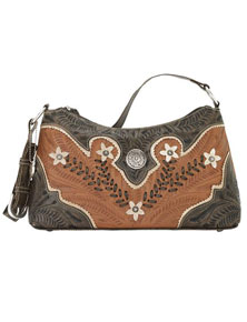 American West Desert Wildflower Shoulder Bag - Charcoal & Tan - Ladies' Western Handbags | Spur Western Wear