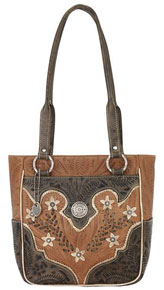 American West Desert Wildflower Tote - Charcoal & Tan - Ladies' Western Handbags And Wallets | Spur Western Wear