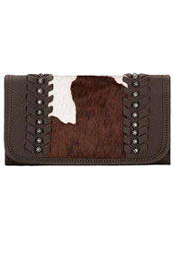 American West Cowtown Hair-On Cowhide Tri-fold Wallet - Chocolate - Ladies' Western Handbags And Wallets | Spur Western Wear
