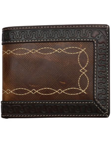 3D Western BiFold Wallet - Brown & Dark Brown - Western Wallets | Spur Western Wear