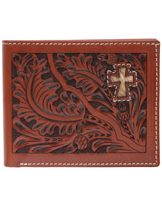 3D Acorn Pattern & Cross Inlay Western Bifold Wallet - Tan - Western Wallets | Spur Western Wear