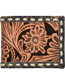 3D Floral Filagree Pattern & Inlay Western Bifold Wallet - Natural & Black - Western Wallets | Spur Western Wear