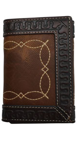 3D Western TriFold Wallet - Brown & Dark Brown - Western Wallets | Spur Western Wear