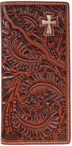 3D Acorn Pattern & Cross Inlay Western Rodeo Wallet - Tan - Western Wallets | Spur Western Wear