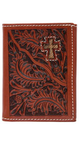 3D Acorn Pattern & Cross Inlay Western Trifold Wallet - Tan - Western Wallets | Spur Western Wear