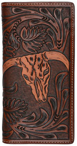 3D Floral Pattern & Steer Head Western Rodeo Wallet - Tan - Western Wallets | Spur Western Wear