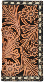 3D Floral Filagree Pattern & Inlay Western Rodeo Wallet - Natural & Black - Western Wallets | Spur Western Wear